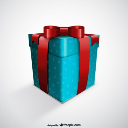 Blue Gift Box Free Vector