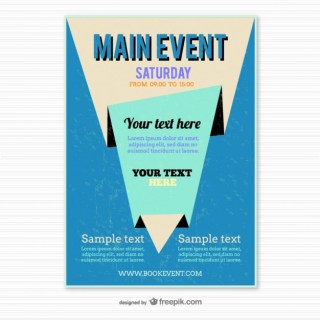 Blue Origami Poster Template Free Vector