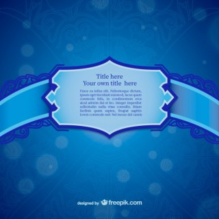 Blue Ornamental Label Template Free Vector