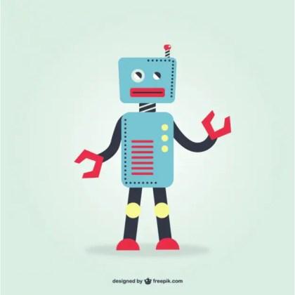 Blue Retro Robot Free Vector