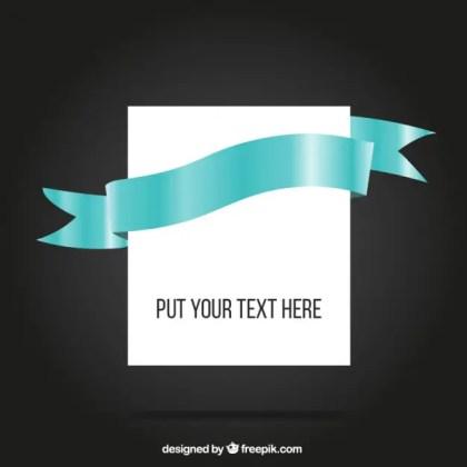 Blue Ribbon Around Blank Paper Free Vector