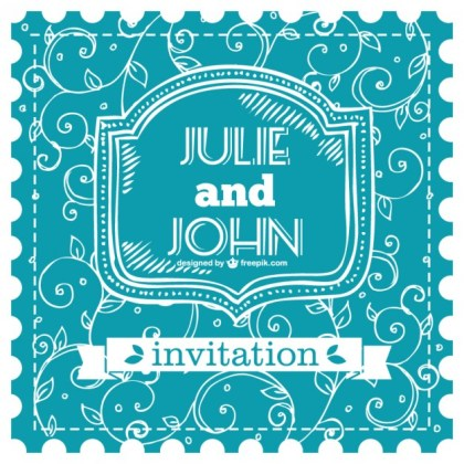 Blue Wedding Card Free Vector