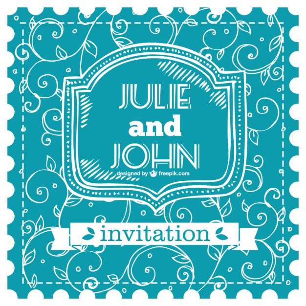 Blue Wedding Card Free Vector