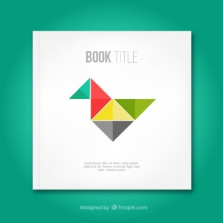 Book Cover with Origami Bird Free Vector