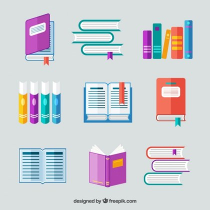 Books Collection in Flat Design Free Vector