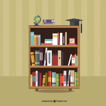 Books on Shelves Free Vector