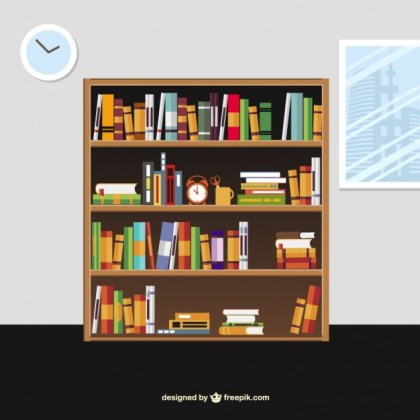 Books on The Shelves in Cartoon Style Free Vector