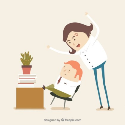 Boss Mad At Lazy Worker Free Vector