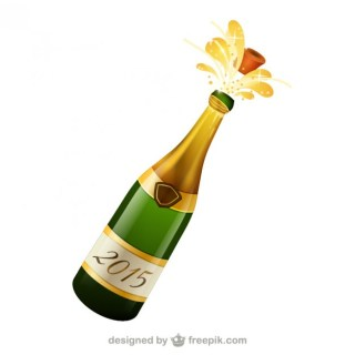 Bottle of Champagne Free Vector