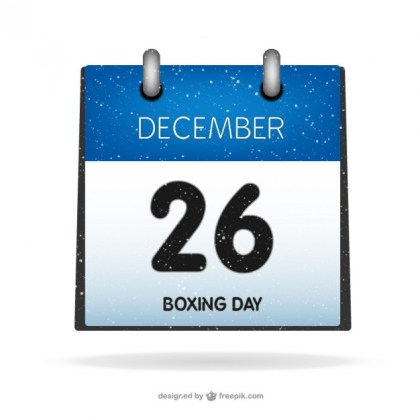 Boxing Day on Calendar Free Vector