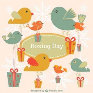 Boxing Day Vintage Birds Free Vector