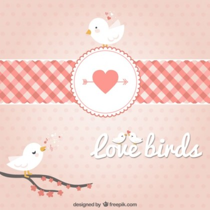 Branches Birds in Hearts Free Vector
