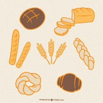 Bread and Wheat Hand Drawn Collection Free Vector