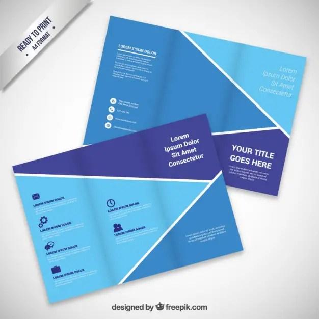 Brochure Design in Blue Tones Free Vector