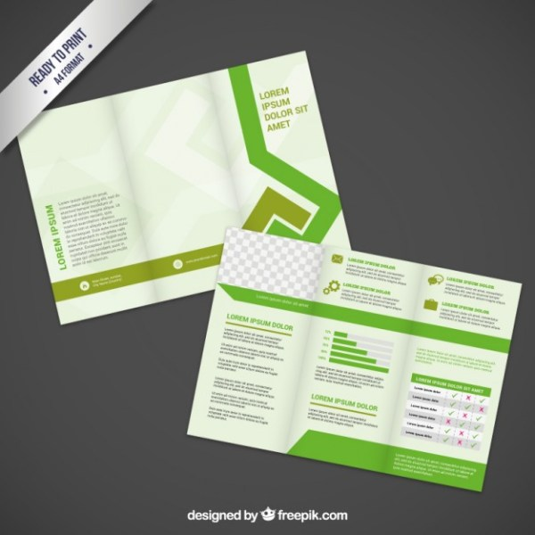 Brochure Design in Green Tones Free Vector