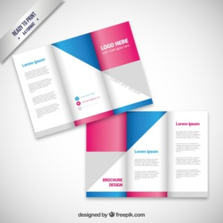 Brochure Design with Geometric Shapes Free Vector