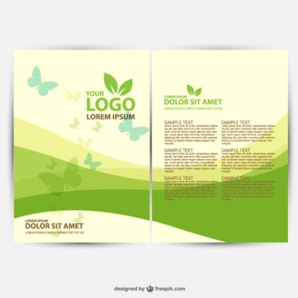 Brochure Ecology Template Free Vector