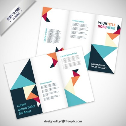 Brochure in Origami Style Free Vector