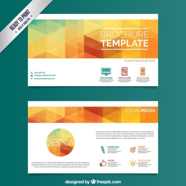 Brochure Template with Colorful Triangles Free Vector