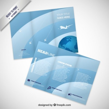 Brochure with Airplane Free Vector