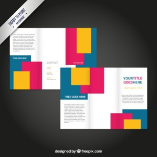 Brochure with Colorful Rectangles Free Vector