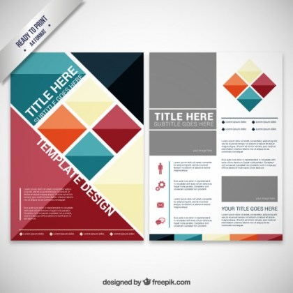 Brochure with Geometric Shapes Free Vector