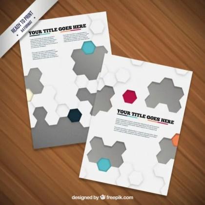 Brochure with Hexagons Free Vector