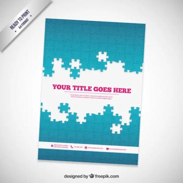 Brochure with Puzzle Pieces Free Vector