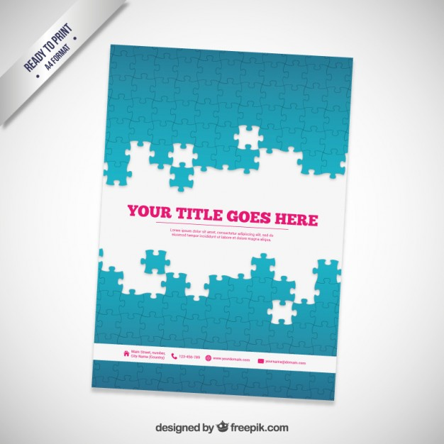 Brochure with Puzzle Pieces Free Vector