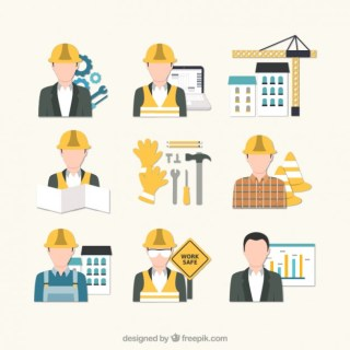 Building Engineer Icons Free Vector