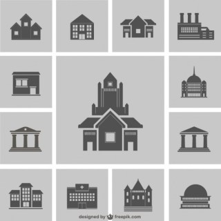 Building Silhouettes Pack Free Vector