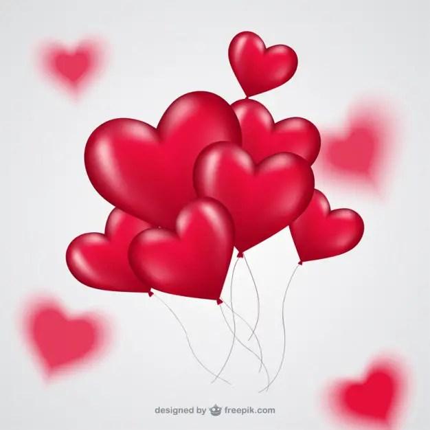 Bunch of Heart Balloons Free Vector