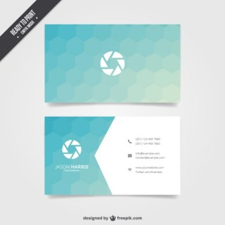 Business Card with Blue Hexagons Free Vector