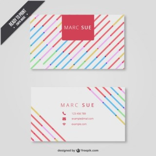 Business Card with Colorful Lines Free Vector