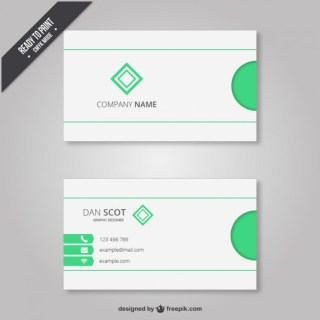 Business Card with Light Green Elements Free Vector