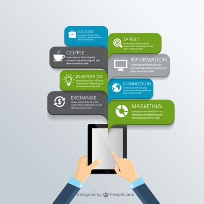 Business Infographic with a Tablet Free Vector
