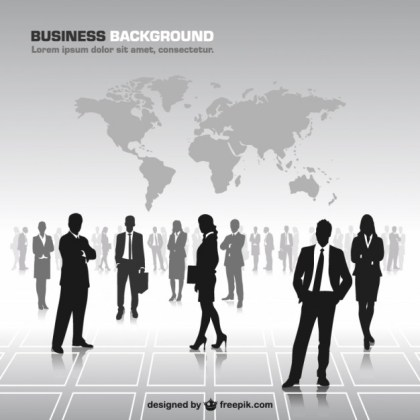 Business People Silhouettes World Map Free Vector