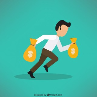 Businessman Carrying a Lot of Money Free Vector