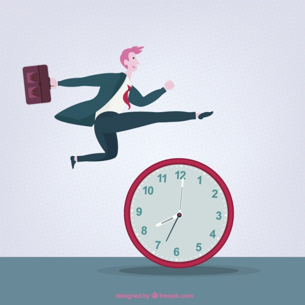 Businessman Jumping Above a Clock Free Vector