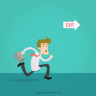 Businessman Running To The Exit Free Vector