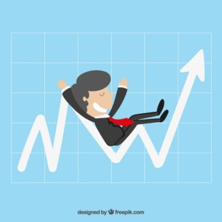 Businessman Sitting on a Graph Free Vector