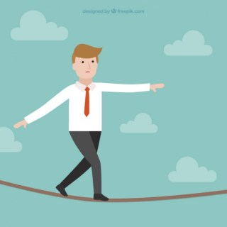 Businessman Walking on Tightrope Free Vector