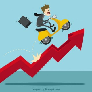 Businessman with a Scooter Over Growing Chart Free Vector