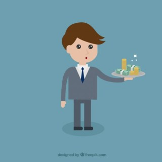 Businessman with Money Free Vector