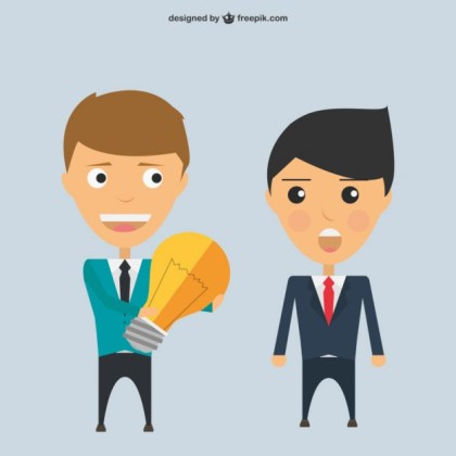 Businessmen Characters Sharing An Idea Free Vector