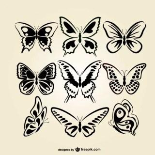 Butterflies Line Art Set Free Vector