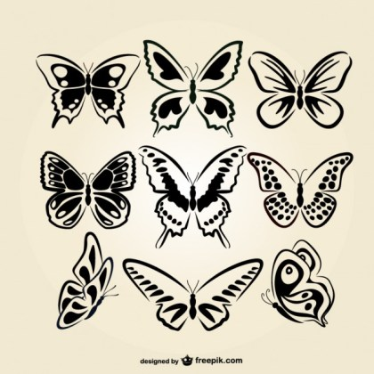 Butterflies Line Art Set Free Vector