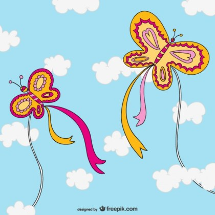 Butterfly Shaped Kites Free Vector