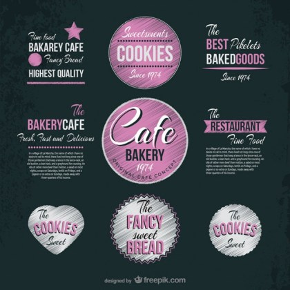 Cafe and Bakery Vintage Stickers Free Vector
