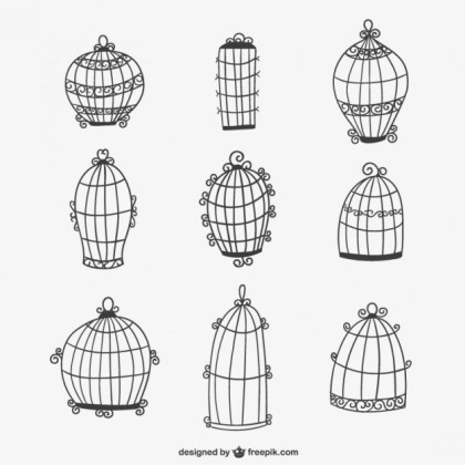 Calligraphic Bird Cages Free Vector